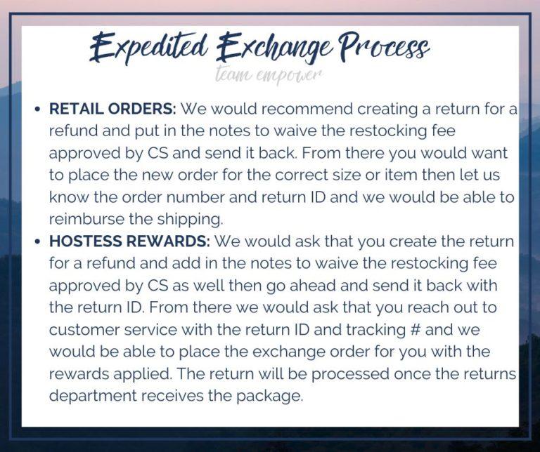 Expedited Exchange info